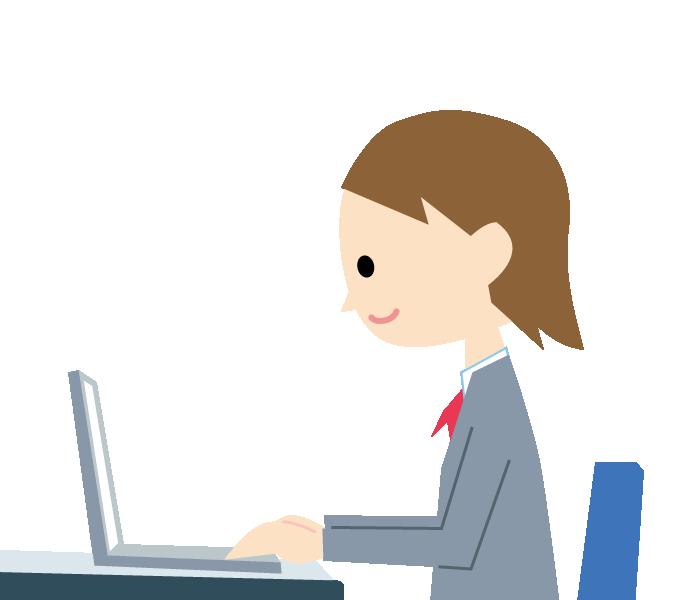パソコンに向かう女性のイラスト