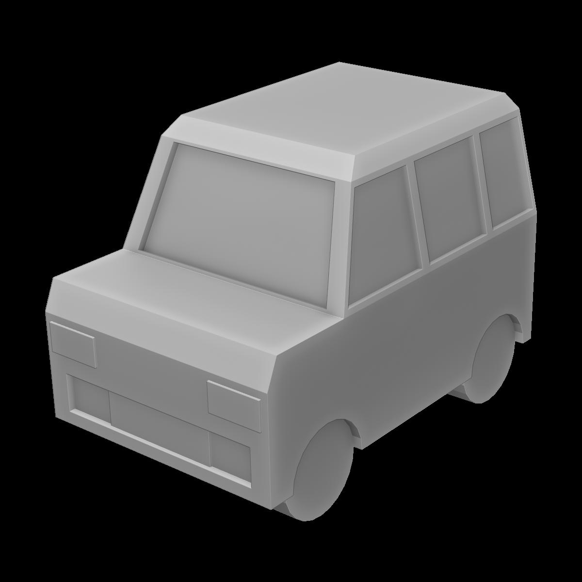 車(ボックス型)の3Dイラスト