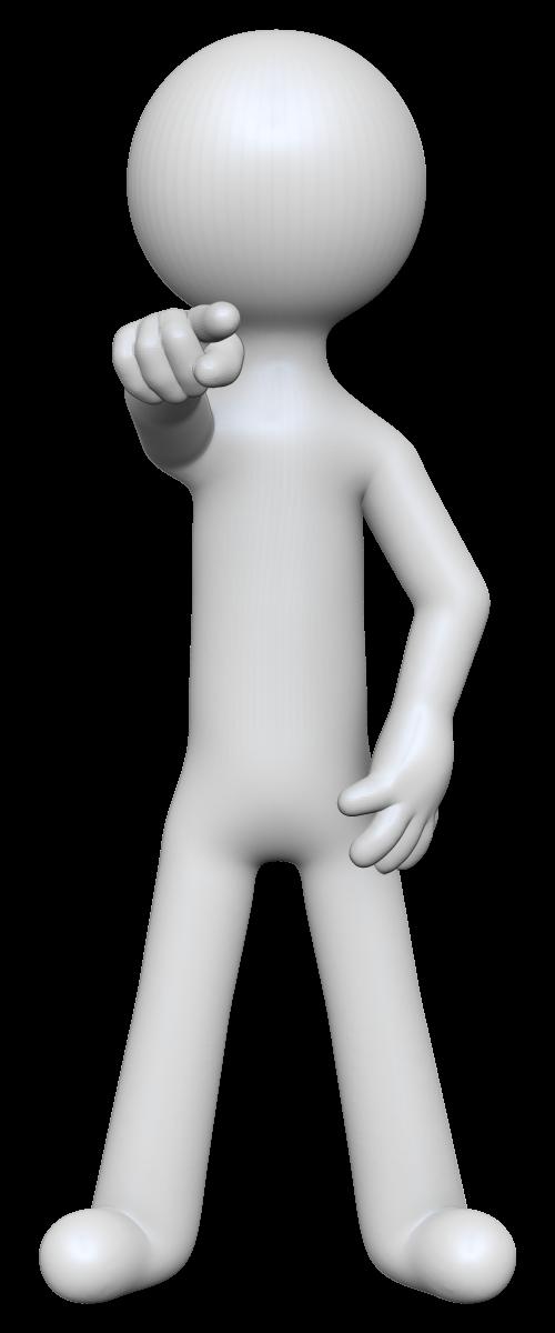 指をさす棒人間の3Dイラスト