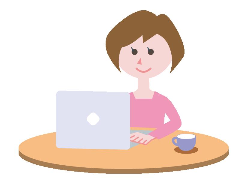 カフェでパソコンに向かう女性ののイラスト
