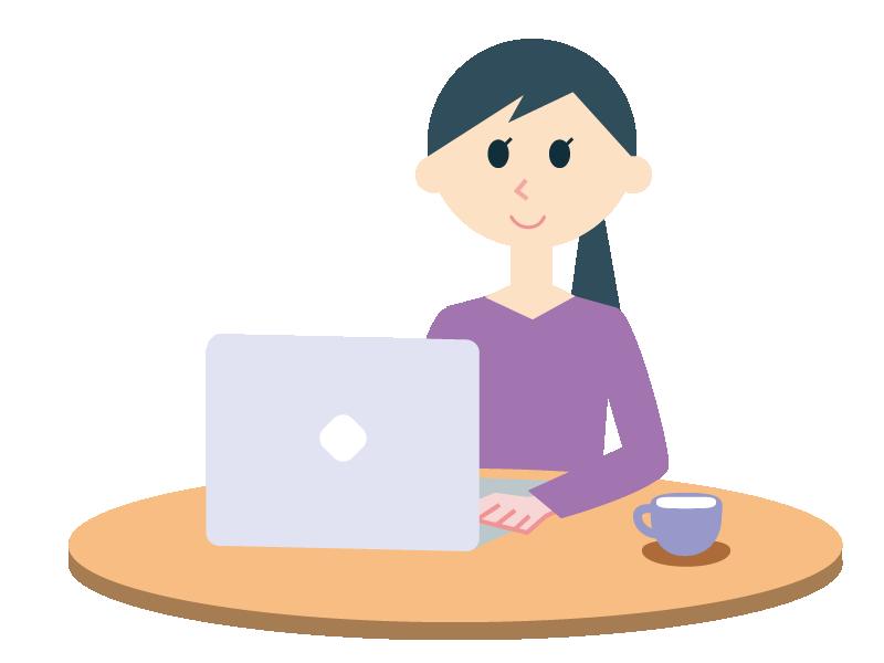 在宅ワークで仕事をする女性のイラスト