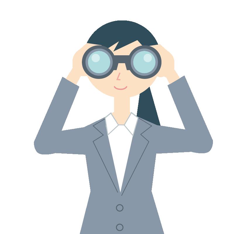 双眼鏡を覗く女性のイラスト